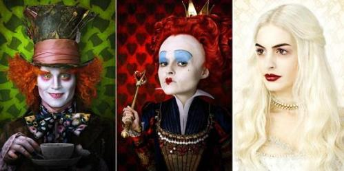 Johnny Depp, Helena Bonham Carter et Anne Hathaway dans Alice in Wonderland